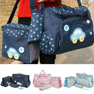 4PCS/Sets Mummy Tote Diaper Nappy Changing Bag Changing Mat Milk Bottle Holder