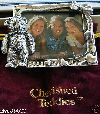"""Cherished Teddies - """"silver Plated Photo Frame"""" 943 New & With Pouch"""