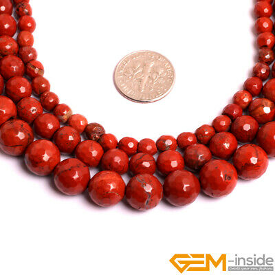 Natural Red Jasper Gemstone Faceted Round Beads For Jewelry Making  6mm 8mm 10mm