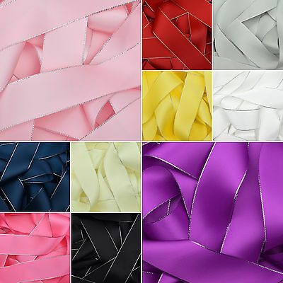 Double Sided Silver Edged Satin Ribbon in 10 Colours 6mm 10mm 15mm 22mm 38mm