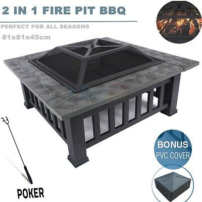 Outdoor Fire Pit BBQ Table Grill Garden Camping Heater Fireplace Brazier Cover