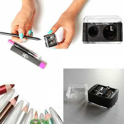 New Precision Cosmetic Pencil Sharpener for Eyebrow Lip Liner Eyeliner 2 Holes
