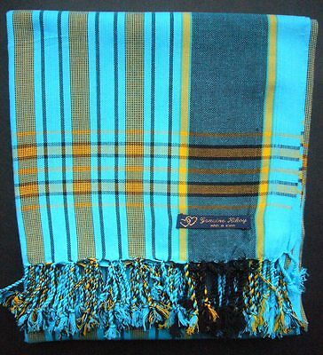 Kikoy Kikoi  Turquoise Multi Africa Cotton Sarong Throw Scarf Kenya Swimwear NEW
