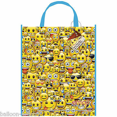 2 Official Emoji Smiley Face Birthday Party Plastic Gift Loot Treat Tote Bags
