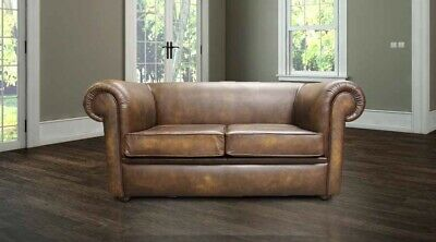 Chesterfield 1930's 2 Seater Antique Gold Leather Sofa Settee