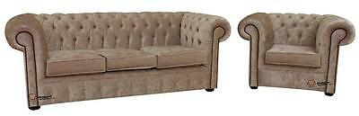 Chesterfield 3 Seater + Club Chair Senso Oyster Velvet Fabric Sofa Settee Suite