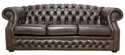 Chesterfield Buckingham 3 Seater Antique Brown Leather Sofa Settee