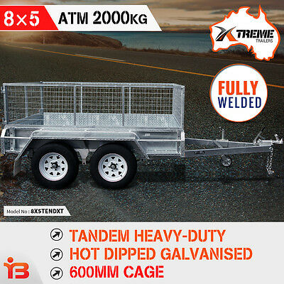 NEW XTREME 8x5 Tandem Box Trailer Galvanized Fully Welded GALVANISED ATM 2000kg