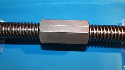 """1""""-5 acme coupling nut steel 1 3/8"""" hex x 2.75 long right hand"""