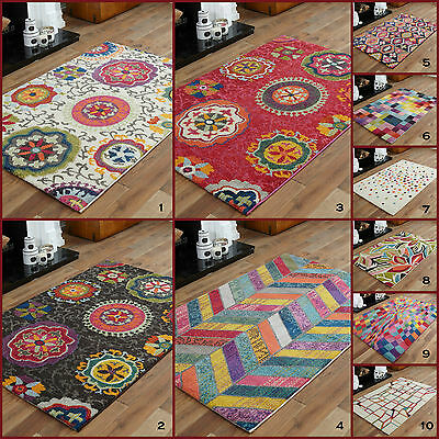 Medium Bright Funky Modern Geometric Shapes Multi Colours 10-12 Mm Rugs For Sale