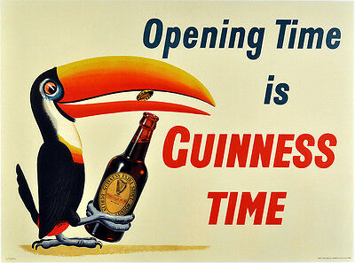 Home Wall Art Print - Vintage Advertising Poster - GUINESS TIME - A4,A3,A2,A1