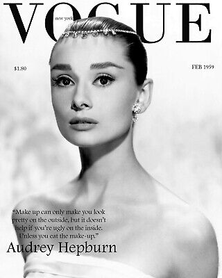 Home Wall Art - Canvas or Poster Print - AUDREY HEPBURN VOGUE - Options A4 to A0