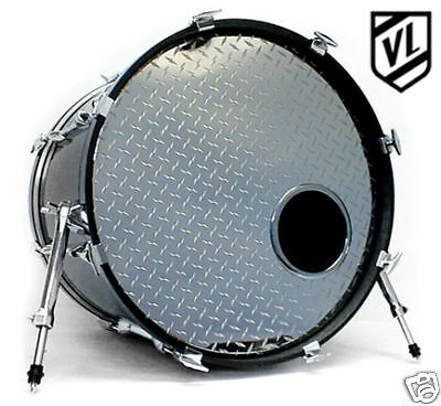 """22"""" Chrome or Sparkle Bass Drum Head with Port Hole Ring  - NEW"""