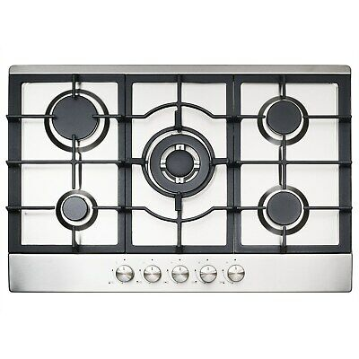iQ 75cm Stainless Steel 5 Burner Gas Hob with Cast Iron Pan Supports