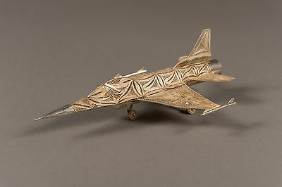 A Vintage Sterling Silver Filigree Model of A F-16 Army Plane