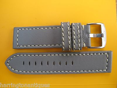 22Mm German Made Grey Leather White Stitched Strap & Buckle By Glycine #w