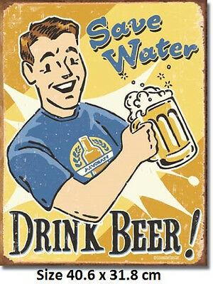Save Water Drink Beer Rustic Tin Metal Sign 1657 Post 2-12 signs $15 flat rate.