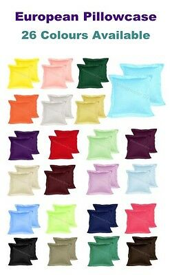 2 X EUROPEAN PILLOWCASES Choose From 26 Colours NEW