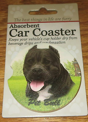 Pitbull Car Coaster Absorbent Keep Cup Holder Dry Stoneware Dogs Black Pit Bull