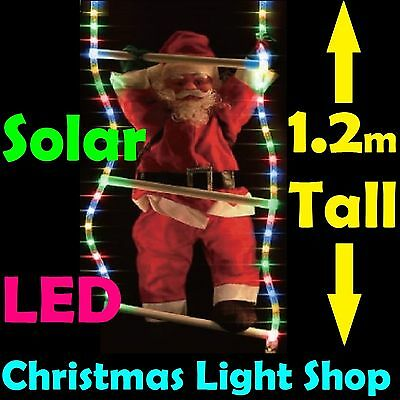 Solar LED RopeLight Ladder w Santa MULTICOLOUR Flashing Outdoor Christmas Lights