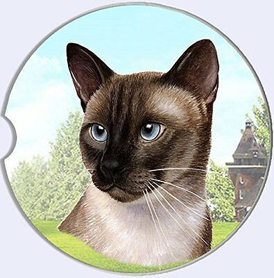 Siamese Cat Car Coaster Absorbent Keep Cup Holder Dry Stoneware New Kitten Kitty