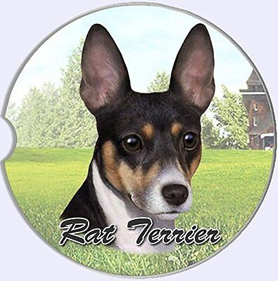 Rat Terrier Dog Car Coaster Absorbent Keep Cup Holder Dry Stoneware New