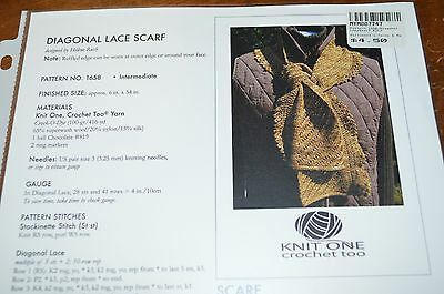 Knit One Crochet Too Knitting Pattern Diagonal Lace Scarf 2 50