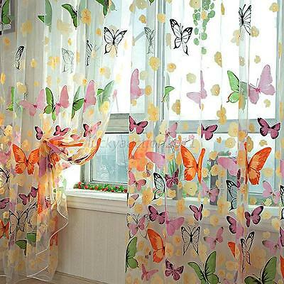 Floral Butterfly Sheers Curtains Voile Tulle Door Window Curtain Scarf Valance