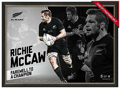 Richie McCaw Unsigned All Blacks Official Retirement Print Framed World Champion