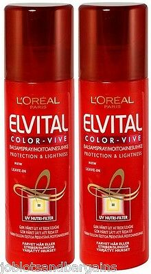 2 x 200ml LOreal Elvive Colour Protect Conditioning Leave in Spray