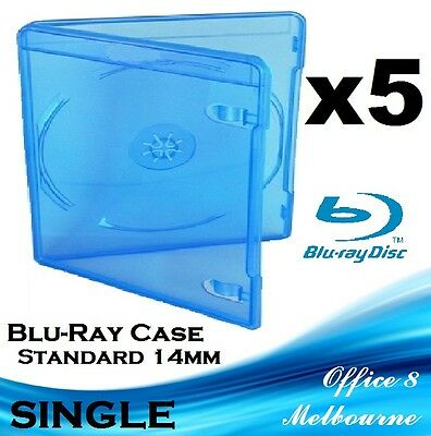 BRAND NEW Premium Quality 5 x Single Blu-Ray Case Cover 14mm BD-R Blu Ray