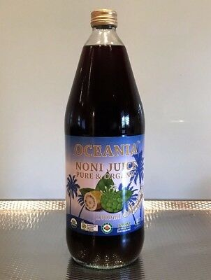3 x 1000ml Glass Bottles 'Oceania' 100% Pure Noni Juice - ACO Certified Organic