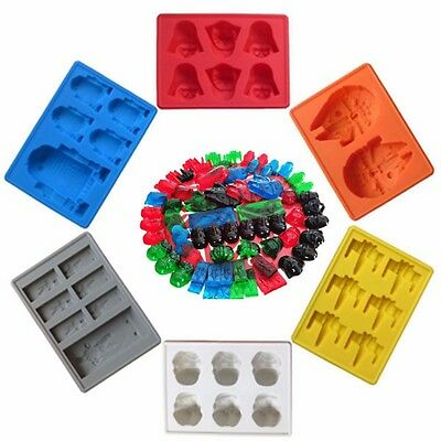 6 x Star Wars Silicone Mold Ice Cube Tray Chocolate Cake Mould X-Wing Fight etc