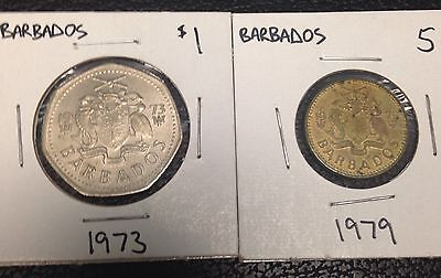 Barbados Coin Lot: $1 Dollar 1973, 1979 Five 5 Cents.