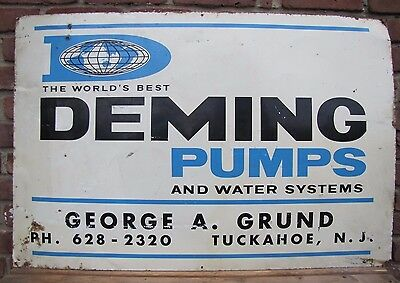Orig 1960s Deming Pumps and Water Sys Adv Sign Tuckahoe NJ AM Sign Co 7-63 24x36