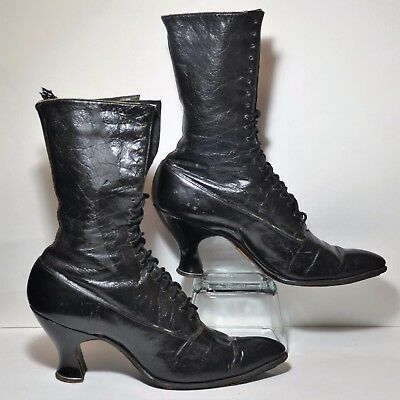 Victorian black leather boots Sorosis shoes Edwardian AE Little Shoe USA antique