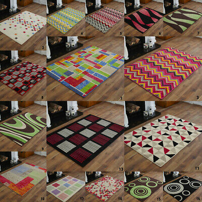Small Medium Modern Alpha Red Black Muti Colour Budget Clearance Rugs For Sale