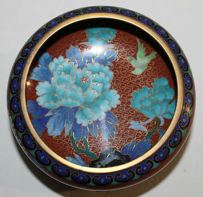 Antique Chinese Brass Cloisonne Brush Wash Floral Bowl With Wooden Stand
