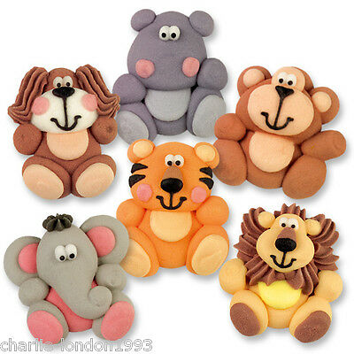 6 Jungle Animals Birthday Christening Edible Cupcake Toppers Cake Decorations