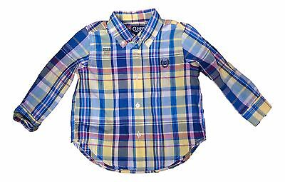 Chaps Baby Size 18 Months Yellow Multi Color Plaid Long Sleeve Easy Care NEW $26