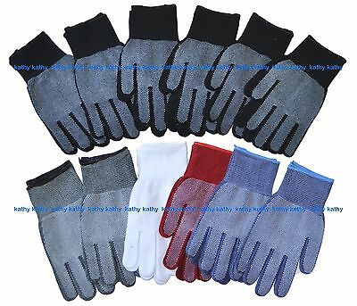 12 Pairs Wholesale Magic Knit Gripper NON-SLIP GRABBER PALMS Gloves Work Sports