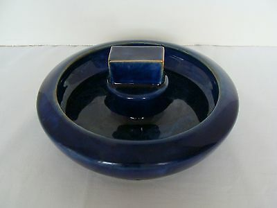 Royal Doulton Cobalt Blue Stoneware Pipe? Ashtray With Striker Lion Crown Mark