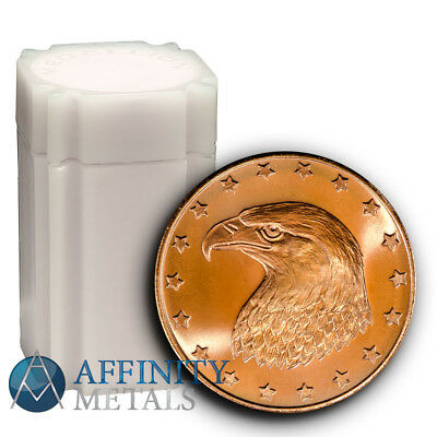 Roll of 20-Eagle Head 1 oz .999 Pure Copper Round