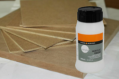 4 Artists MDF Painting Boards & 500ml Daler White Priming Gesso.Choose your Size