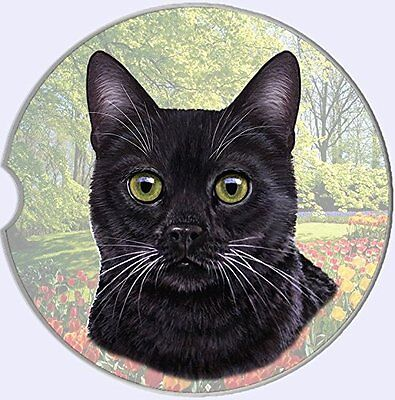 Black Cat Car Coaster Absorbent Keep Cup Holder Dry Stoneware New Kitten Pets