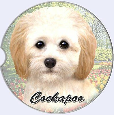 Cockapoo Car Coaster Absorbent Keep Cup Holder Dry Stoneware New Dog Cream
