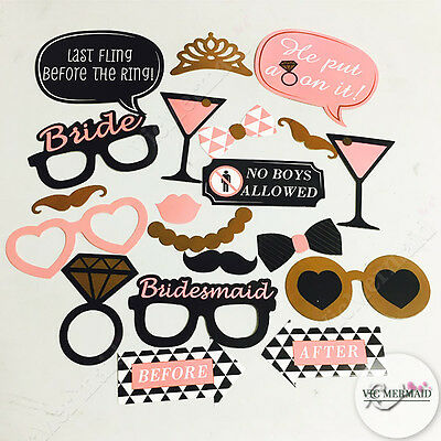 20 Pcs Photo Booth Prop Set Hen's Night Party Wedding Engagement Birthday Bridal