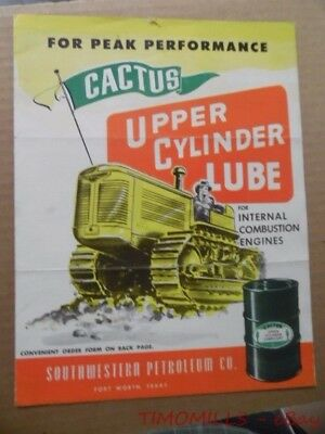 c.1950 Southwestern Petroleum Co Cactus Upper Cylinder Lube Oil Brochure Texas