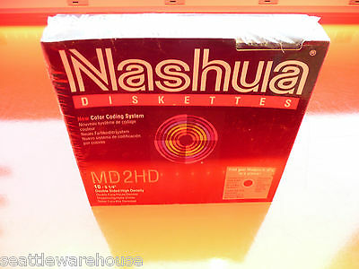 """x100 LOT maroon sealed NASHUA MD2HD 5 1/4"""" 5.25"""" DISKETTES NEW NOS double sided"""