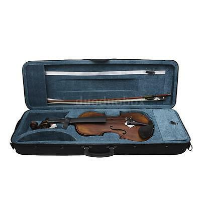 4/4 Full Size Handcrafted Solid Wood Acoustic Violin Fiddle +Carrying Case X2B7